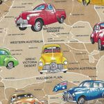 Aussie Golden Holden Cars Cotton Fabric by Nutex 10210 col 1