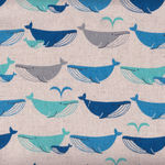 Blue Whales from Cosmo Textiles Linen/Cotton Fabric AP62401