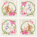 Bunny Love by Northcott Fabrics 22761 Colour 11 Pale Grey Background.