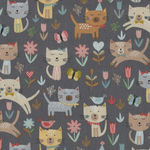 Cool Cats Jumping From Makower UK Design 2183 Colour S Grey