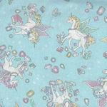 Cosmo Textiles Unicorns On Soft Blue/Aqua AP75409 Col C
