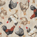 Early Bird Roosters And Hens From Windham Fabrics 51398-1 Antique Cream