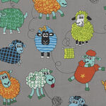 Farm Fun-Sheep From Nutex Fabrics 80500 Colour 2 Grey.