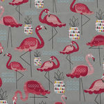 Flamingo On Grey by Nutex Fabrics 89930 Colour 101
