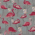 Flamingo On Grey by Nutex Fabrics 89930 Colour 101