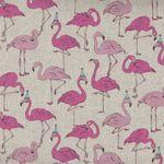 Flamingos Pink for Cosmo Textiles by Gaku 68630 Colour 102 Cotton/Linen