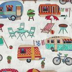 Getaway Vintage Caravans Cotton Fabric by Nutex 89510 col 101