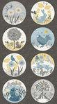 Grove Woodland Fabric Panel by Lynne Goldsworthy for Makower Fabrics Design 2167