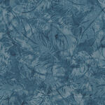 Island Batik Cotton Fabric 121922727 Col. Dark Blue Feathers.