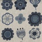 Japanese Cotton/Linen Blend Fabric H-6873 Colour D Natural/Navy