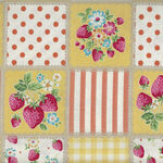 KOKKA Very Cotton Vintage LOA-49010 3D23 Strawberries Yellow