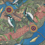 Kingfisher Camp By River by Nambooka for M&S Textiles Ecru Australian