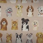 Kokka Dog Cotton/Linen Fabric PA-45100 100D17