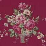 Kono Sanae For YUWA Fabrics of Japan Color Palette Bergundy Flower Basket.