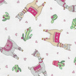 Llama Love By Deb Strain For Moda Fabrics M19921-11 White.