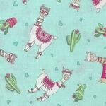 Llama Love By Deb Strain For Moda Fabrics M19921-14 Mint Llama.