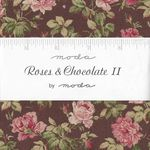 "MODA Charm Pack Roses & Chocolate 11  5"" Squares x 42 cuts 52106 34543"