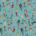 Mermaids And Unicorns From In The Beginning Fabrics Design 3 Mer Colour 1 Blue