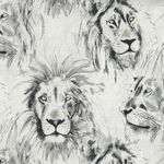 Michael Miller Roarr! CX-7015 Cream/Charcoal Sketch Lion Profiles.