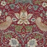 Morris & Co Kelmscott  from Free Spirit PWWM 001. Color Red. Strawberry Thief.