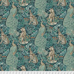 Morris & Co Standen from Free Spirit PWWM 031. Color Teal. Pattern Forest.