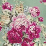 Ruru Bouquet By Quiltgate Fabrics RU2370 11D Green/Pink Roses