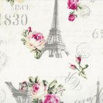 Ruru Bouquet By Quiltgate Fabrics RU2370 12A White/Pink Roses/Eiffel Tower/Text