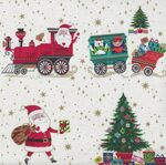 Santa Express From  Makower UK Placement 2378 Col 1 White.