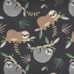 Sloths By Domotex Cotton Fabric Design Lazare Colour 1B Charcoal/Grey/Caramel 60
