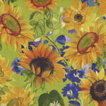 Sunny Fields by Sue Zipkin for ClothworksY3027-23 Light Olive/Sunflower.