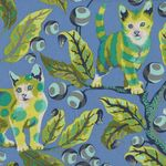 Tabby Road by Tula Pink Disco Kitty PWTP092 BLUE