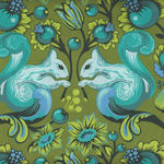 Tula Pink All Stars For Free Spirit Fabrics PWTP028 Squirrel Colour Fern