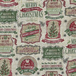 Vintage Christmas By Northcott Fabrics 23548 Col.12 Vintage Labels.