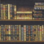 """Vintage Library From Indigo Fabrics IN1116-801 Books 60""""Width."""