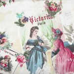 Yuwa Micci Collection Victorian Scraps Images on Pale Cream