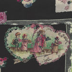 Yuwa Micci Collection Victorian Scraps Images on Black