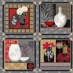 Narumi Blocks With Vases Japanese Fabric Panel by Blank Quilting BQ9926 095 Gra