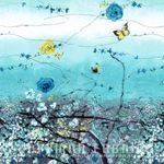 """Dream Blossom"" for Hoffman California Fabrics N7500 Blue Grass Silver"